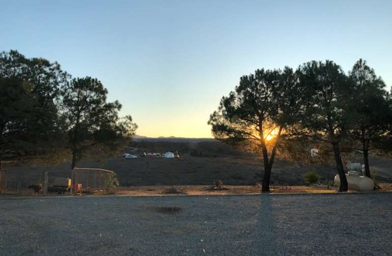 Beautiful sunrise.   You can see our fellow tent hip campers up on the hill.