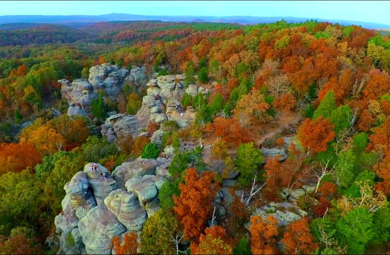 The Shawnee National Forest puts on a color show in the fall. Heron House is surrounded by the Shawnee. This hike is a must. It will remain with you forever.