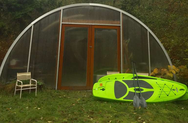 November by the Quonset hut. Bikes or paddle boards can be borrowed to take to the beach.