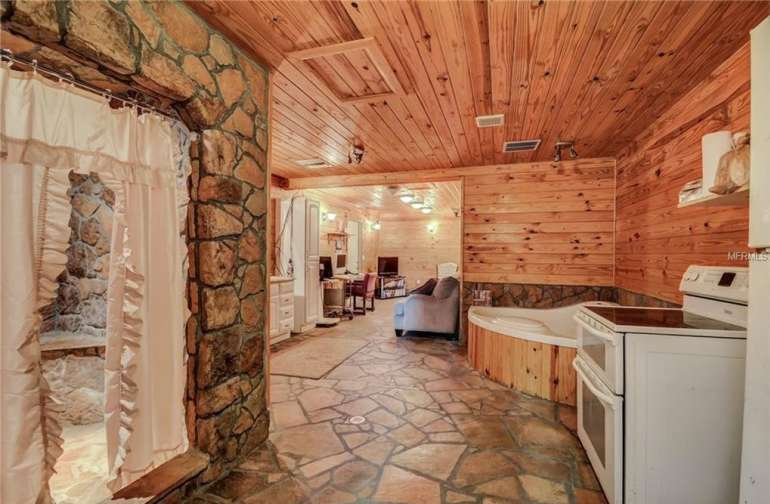 Interior stone and cedar cabin