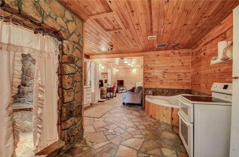 Interior stone and cedar cabin