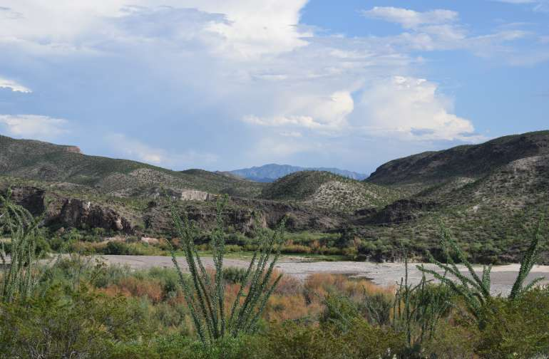 """The campground is located a few miles north of FM170 on Casa Piedra Road.  If you take Casa Piedra road to the BBRSP you will pass through Rio Bravo Ranch.  View into Mexico from our family cemetery on the """"Airstrip"""""""