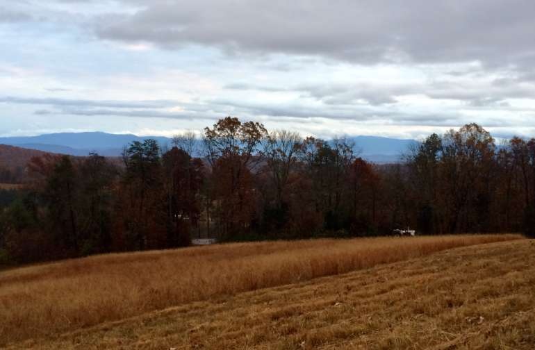 View of the smokies from the top of the hayfield.