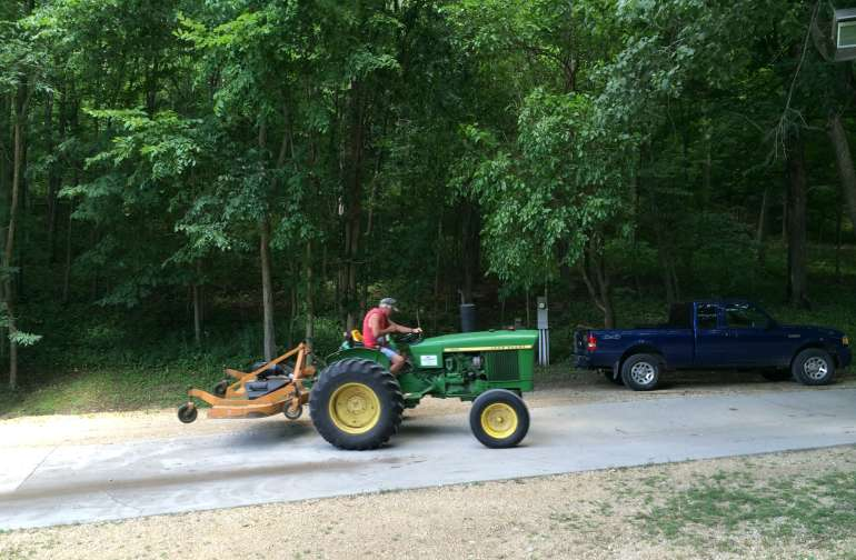 Larry keeps the campgrounds groomed like a state park
