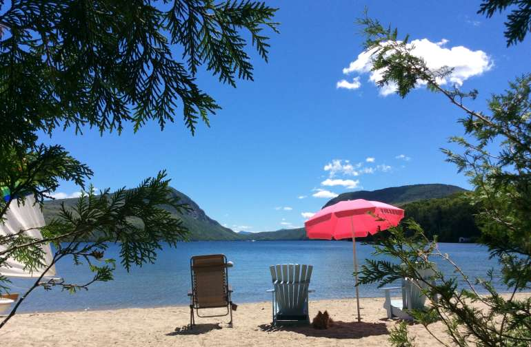 We own 100 feet of the 750--foot Crescent Beach which is the finest in Vermont.