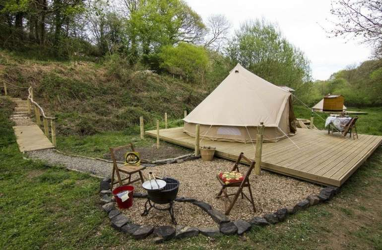 Yurt Tent in Secluded Forest Area