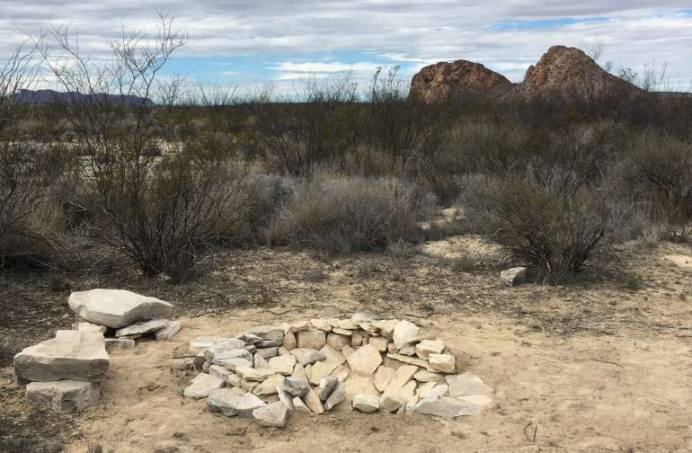 Nice little site with a fire pit in the desert