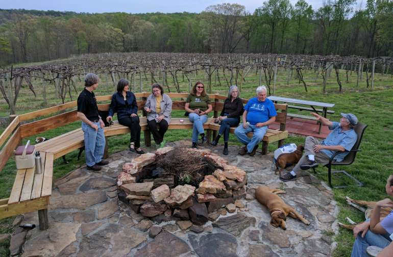 Gathering around the fire at Hickory Ridge Winery.