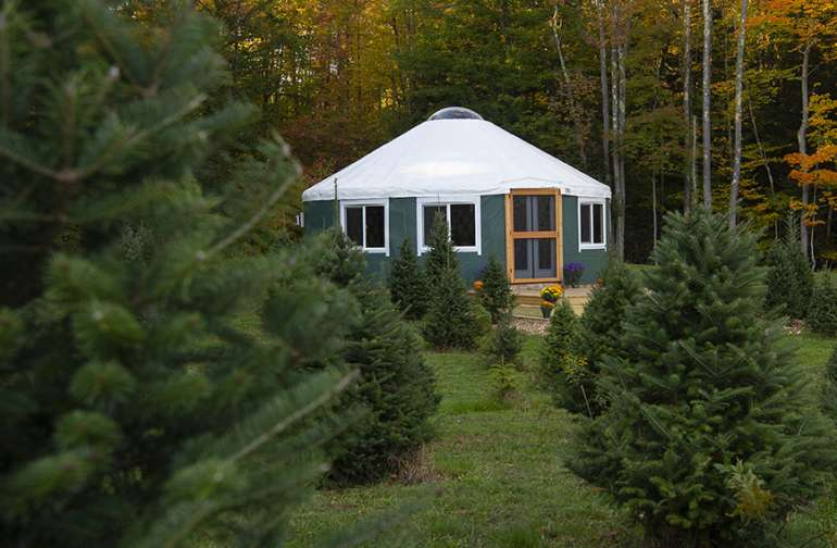 A view of the yurt from outside.