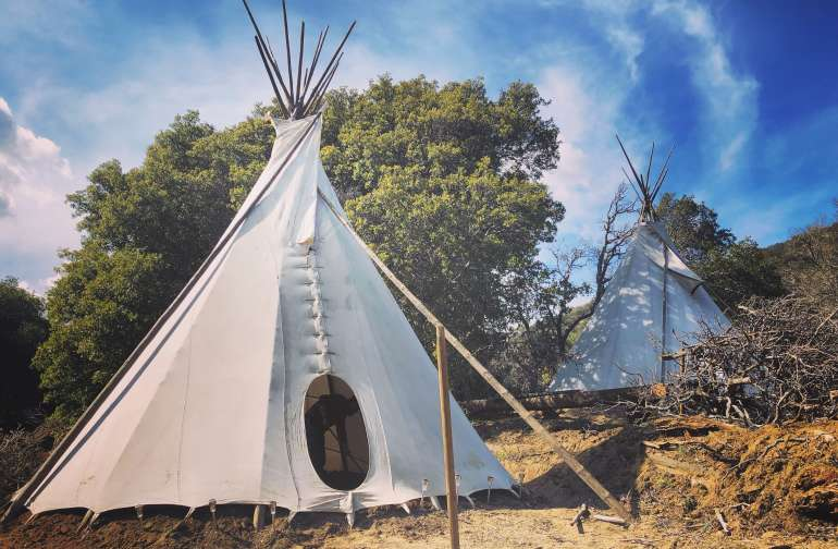 """Glamping"" Tipis on Rusted Mountain"