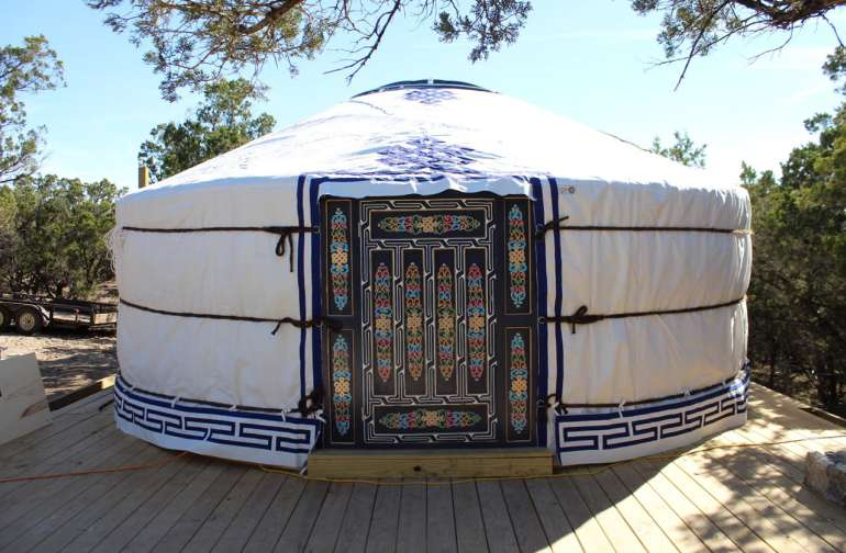 Our beautiful yurt is all natural, with 3000 years worth of Mongolian engineering in its favor - sheep's wool insulation, horse hair ropes, and Siberian pine lattice walls, all hand-painted give Sasha Ger a lovely, soulful feel.