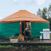 "Glamping on ""tiny pond"" in a yurt"