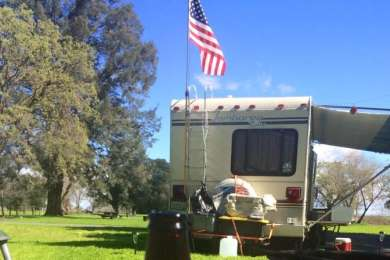 Dry camping in our RV at Cottonwood Campground - Brannan Island