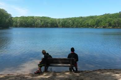 These boy scouts were caught taking a short break at Highbanks Campground will earning there Hiking Merit Badge.