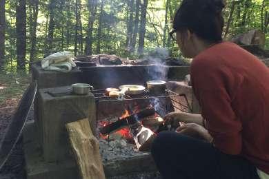 Breakfast on the fire.