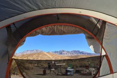 The view out of my tent at Mesquite Springs Campground