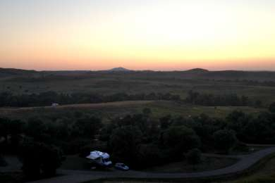 View of the sunset from the Overlook hill near the entrance of the campground.