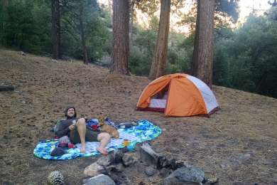 The actual trail camp was full, so we doubled back and stayed at this site that was right on the trail by the creek crossing.