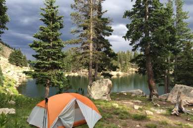 Jacks Creek is a great jumping off point for backcountry adventure. This is camping at nearby Lake Katherine.
