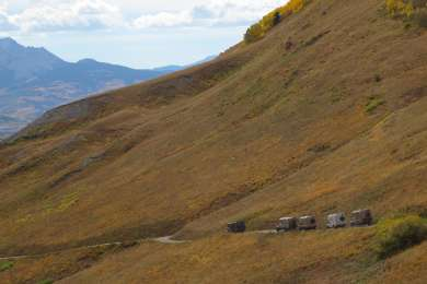 EarthRoamers descending Last Dollar Road towards Telluride, CO