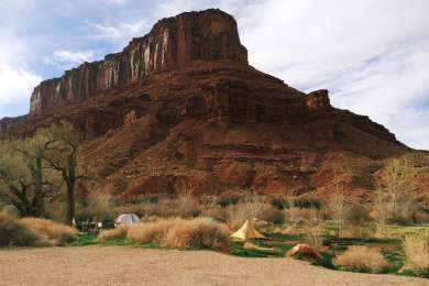 A variety of spots right along the river in the shadow of this giant mesa