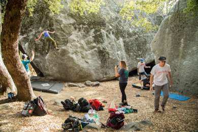 Bouldering right beside Camp 4.