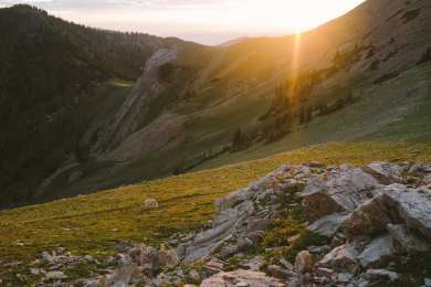 Sunset above the lake, on the ridge below Sacagawea Peak