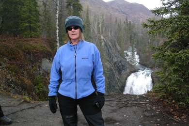 Checking out Juneau Falls on the way to the cabin