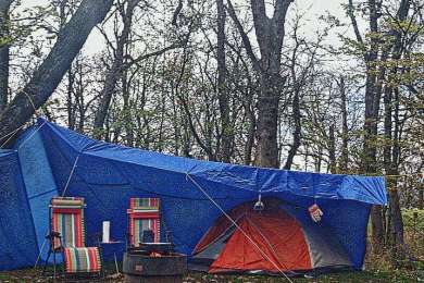 We stayed here over Halloween weekend and had the whole campground to ourselves . While other Minnesotan's were preparing for hibernation , we were building tarp cities in the parks 😂