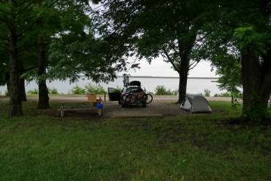 Our tent campsite by the water.