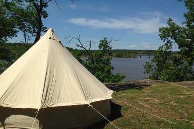 Bluff-side campsite.