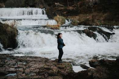 A quick snapshot my awesome friend, Kyle took of me admiring the scenery and waterfall.