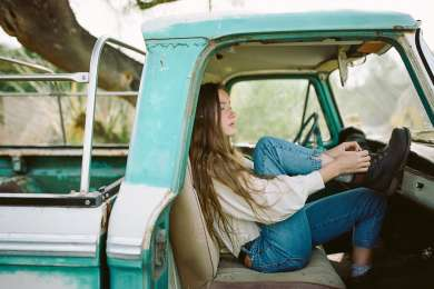 Chillin' in the backcountry in an old ford truck.