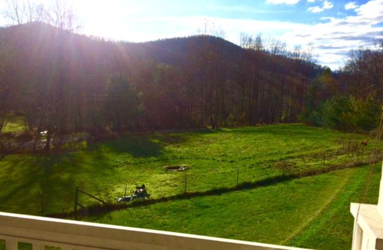 View of camping field from the porch.