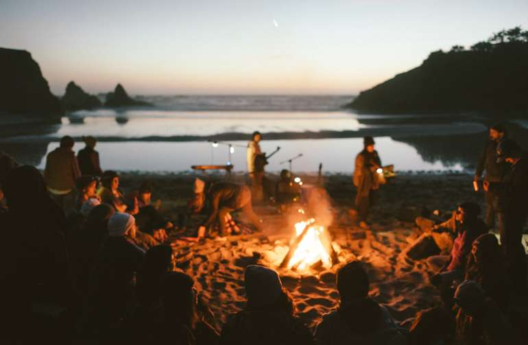 Campfire serenade at Jughandle Beach, just a short walk from our campsite