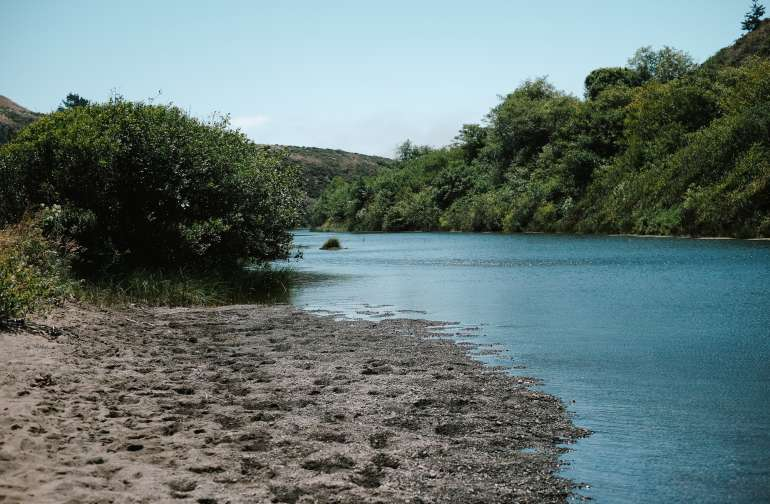A little private beach off the creek at Warm Springs.