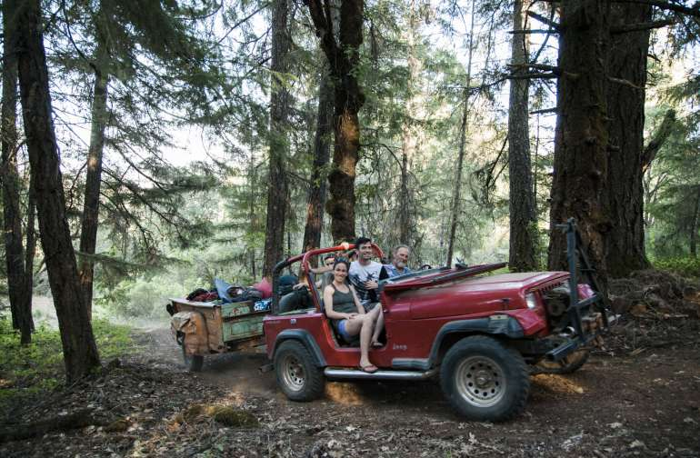 John ferrying campers and their things in his rad jeep. He gives grounds tours, too!