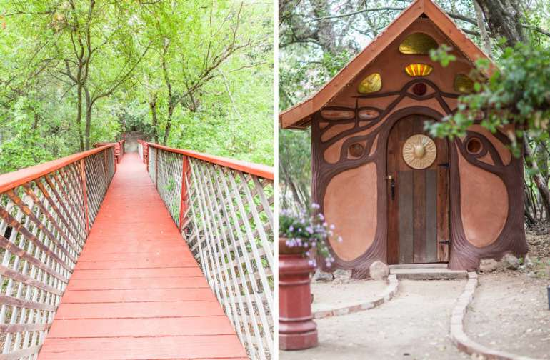 The Gingerbread House and the bridge over the creek.