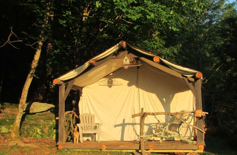 Tent closes fully and includes a mosquito net over the queen sized comfy bed!