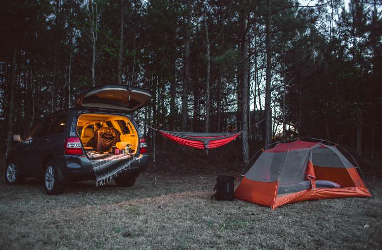 Set up for a restful night on the hill.