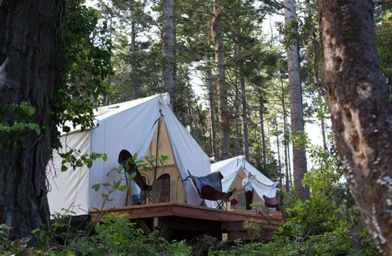 The Family Tents are furnished with a queen bed and two twins.