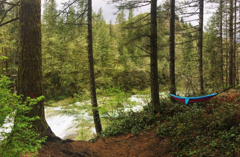 Naturally the first thing we did was set up the hammock.