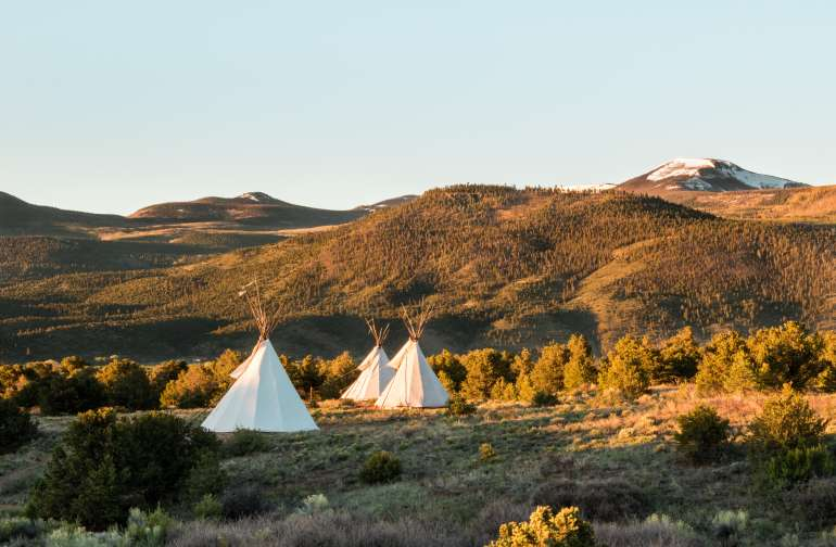 "The closest teepee is larger than the other two but all three are incredibly spacious. Tent sites are also available if you take the trail past the teepees. All sites are ""walk-in"" so be prepared to park your car by the farm and carry your gear. It's not far!"