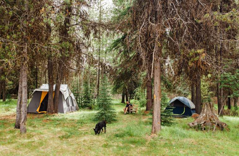 The tent camping area