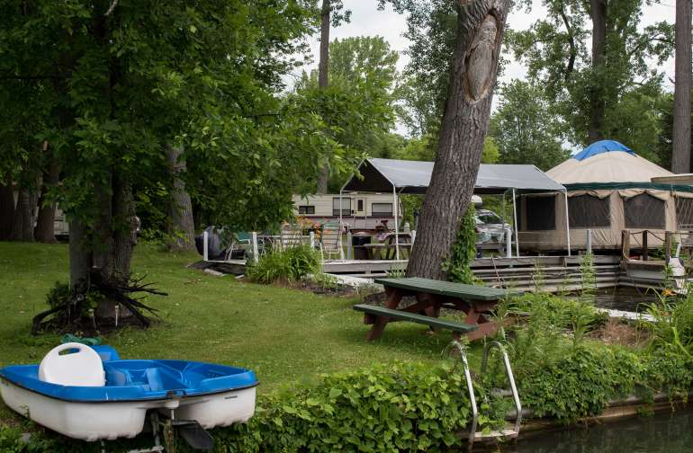 View of the yurt and property from one of the docks