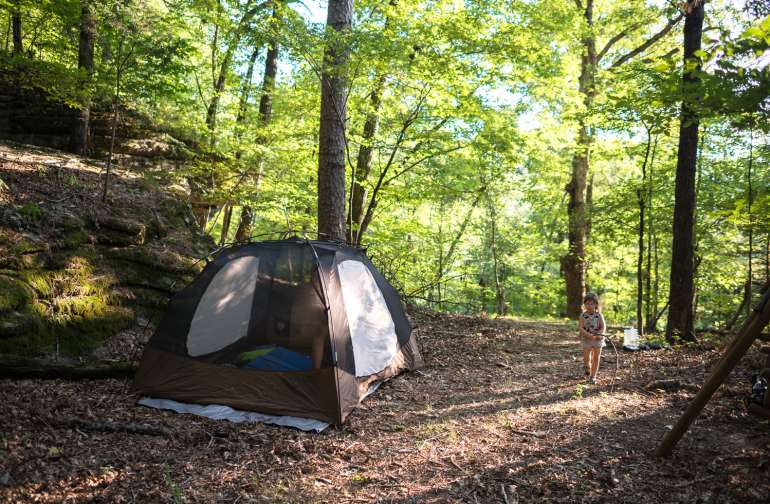 Our camp next to the bluffs in the Eureka Springs woods.