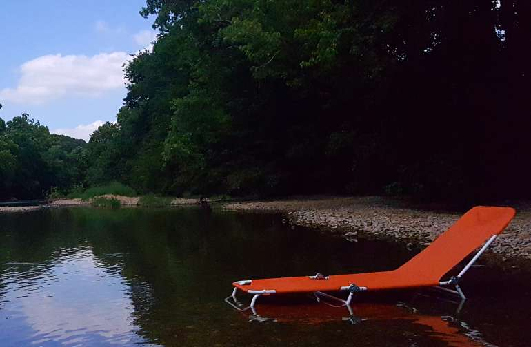 Relax on the shores of beautiful Indian Creek in the Ozark Hills