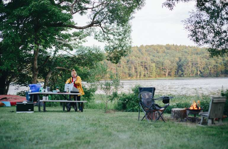 people lake camper
