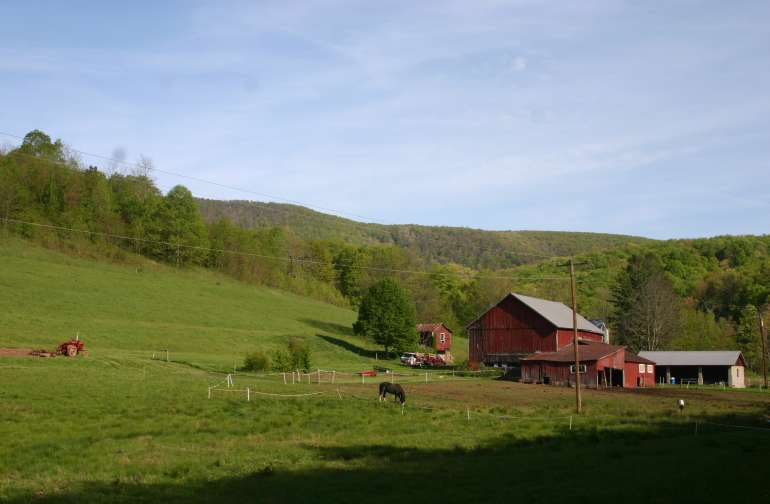 View of farm in early spring