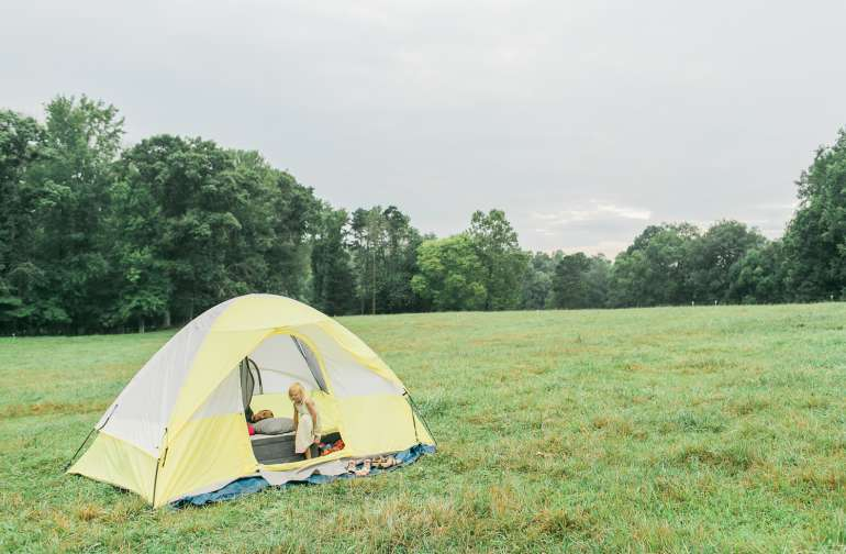The hayfield is a perfect place to pitch a tent